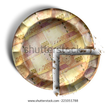 A top view concept of a sliced section of a regular baked pie with crimped edges made out of South African Rand bank notes on an isolated background - stock photo