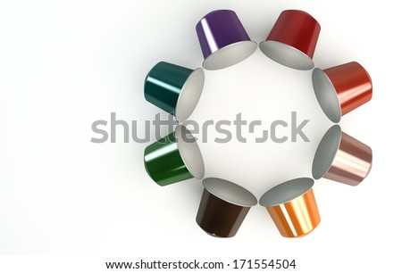 A top view of a circular collection of colorful instant espresso coffee capsules sealed with foil on an isolated white background - stock photo