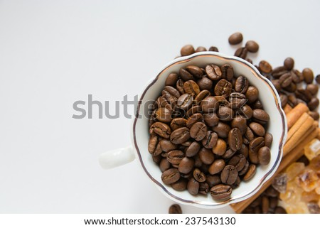 a top view of a Cup with coffee beans