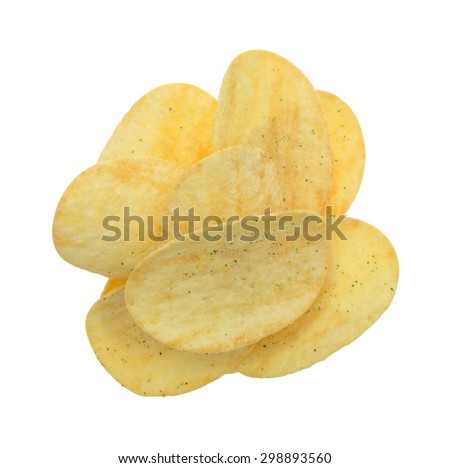 A top view of generic sour cream and onion potato chips on a white background. - stock photo