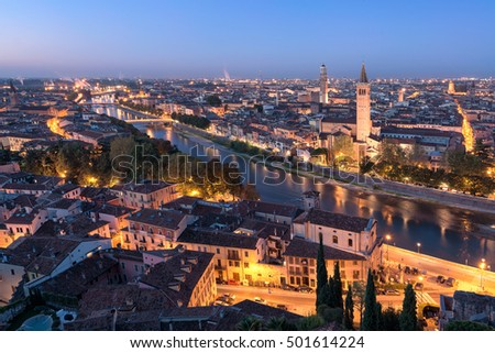 A top view of the splendid city of Verona - Italy, before sunrise.