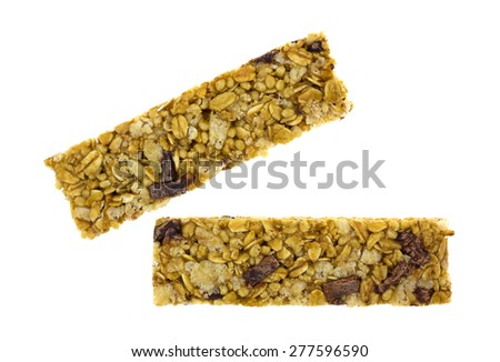 A top view of two granola bars on a white background. - stock photo