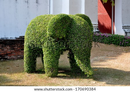 A topiary elephant stands next to one of the entry gateways at Wat Phra Narai Rachanivej in Lopburi, Thailand - stock photo