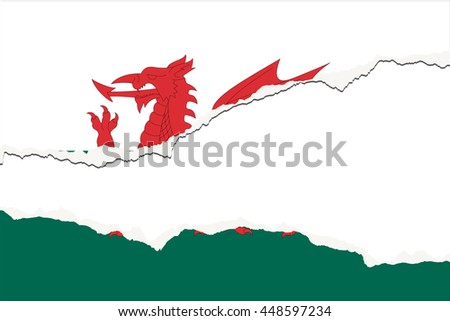 A Torn Flag Illustration of the country of Wales - stock photo