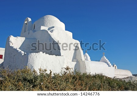 A totally white church in the Greek island of Mykonos