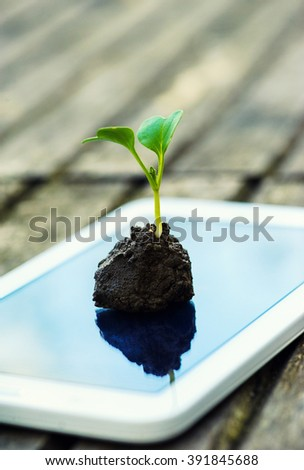 a touch screen of smartphone,tablet,cell phone with seedling growing up on screen over green grass. abstract background to green communication technology concept.