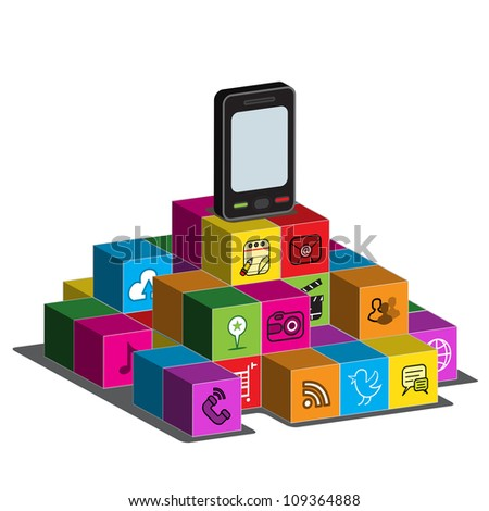 A touch - screen Smartphone on top of blocks with application logos on the side. - stock photo