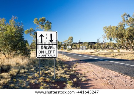 A tourist warning road sign on Larapinta Drive in Northern Territory, Australia