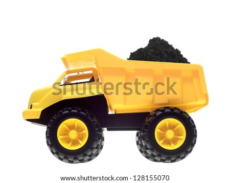 a toy dump truck isolated against a white background - Toy Dump Trucks