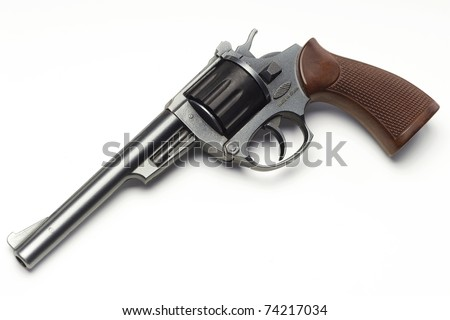 a toy pistol on white - with clipping path - stock photo