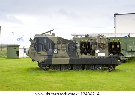 A Tracked Army Missile Launching Vehicle - stock photo
