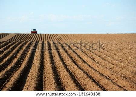 A tractor working planting potatoes in the fertile farm fields of Idaho.  Focus in on the freshly planted rows. - stock photo