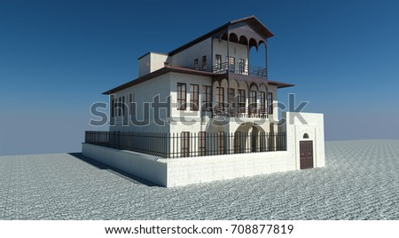 A Traditional Anatolian Mansion With Stone And Wood Facade Garden 3d Illustration Blue