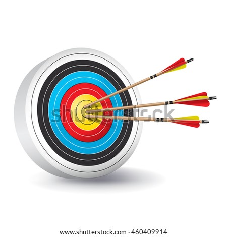 A traditional archery target with colorful rings and wooden red and yellow fletched arrows in the bullseye.