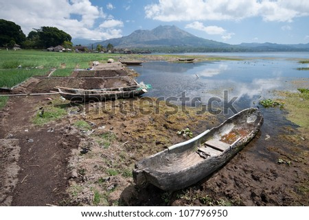 A traditional balinese fisherboat, Lake Batur, Bali - stock photo