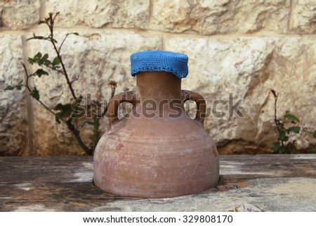 A traditional clay jar that was used in the past to drink water from, Lebanon.