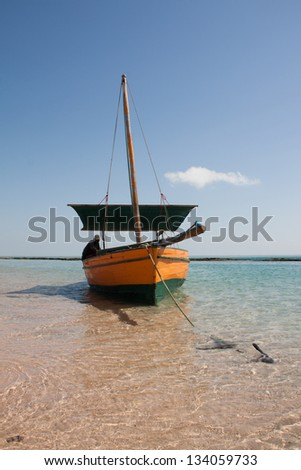 A traditional dhow floats in the lagoons of the Bazaruto Archipelago in Mozambique