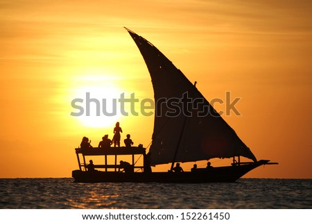 A traditional dhow in Zanzibar, Tanzania, Africa. - stock photo