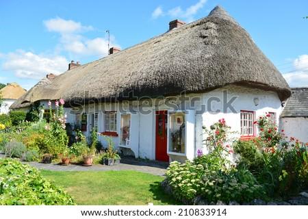 A Traditional Irish Cottage - stock photo