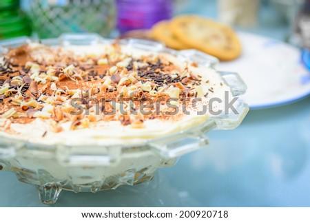 A traditional Tiramisu cake - stock photo