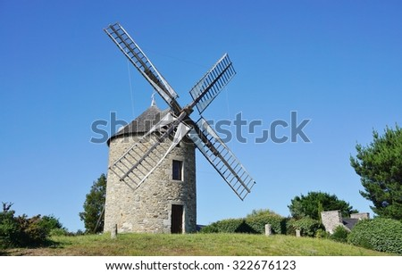 A traditional windmill in Lancieux, Brittany (France)
