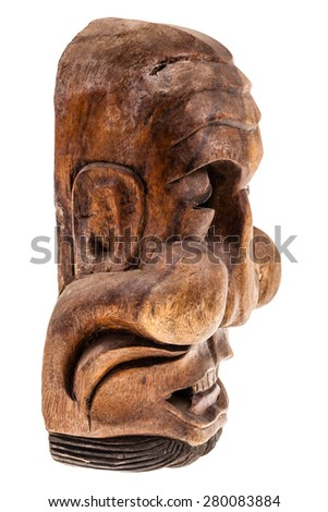 a traditional wooden korean mask isolated over a white background