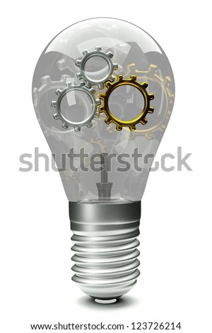 a transparent bulb with a gold gears inside isolated on white as a symbol of brain working