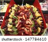 A tray full of assorted fruit - stock photo