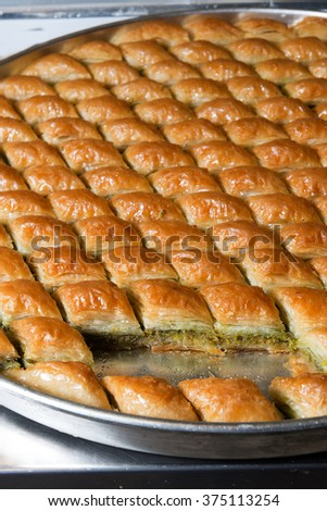 A tray of Baklava. Traditional sweet Middle Eastern dessert.