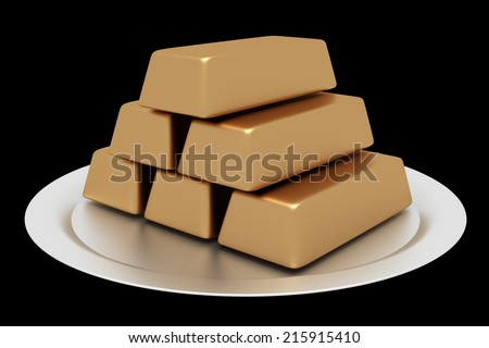 A tray of gold bullion. isolated on black background. 3d illustration - stock photo