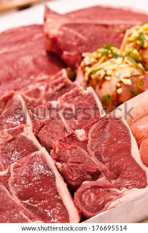 a tray of meats - stock photo