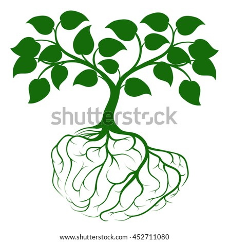 A tree growing from rooots shaped like a human brain - stock photo