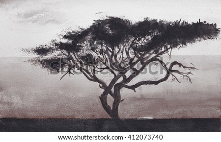 A tree growing in the field - drawing watercolor. Wallpaper.