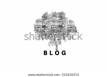 "A tree made of black words on a white background with ""Blog"" as a title - word could   - stock photo"