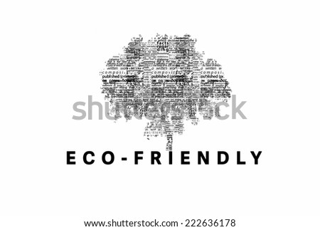 "A tree made of black words on a white background with ""Eco-Friendly"" as a title - word could   - stock photo"