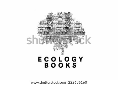 "A tree made of black words on a white background with ""Ecology Books"" as a title - word could   - stock photo"