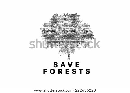 "A tree made of black words on a white background with ""Save Forests"" as a title - word could   - stock photo"