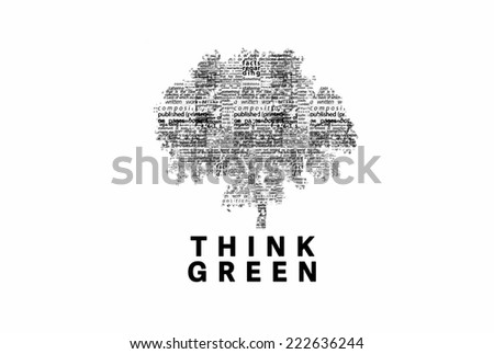 "A tree made of black words on a white background with ""Think Green"" as a title - word could   - stock photo"
