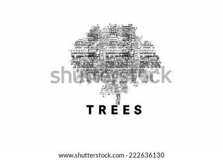 "A tree made of black words on a white background with ""Trees"" as a title - word could   - stock photo"