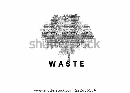 "A tree made of black words on a white background with ""Waste"" as a title - word could   - stock photo"