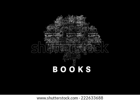 "A tree made of white words on a black background with ""Books"" as a title - word could  - stock photo"
