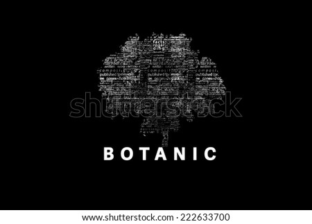 "A tree made of white words on a black background with ""Botanic"" as a title - word could  - stock photo"