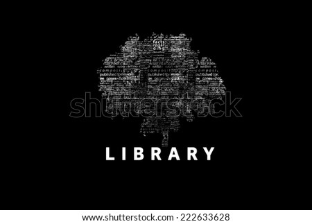 "A tree made of white words on a black background with ""Library"" as a title - word could  - stock photo"