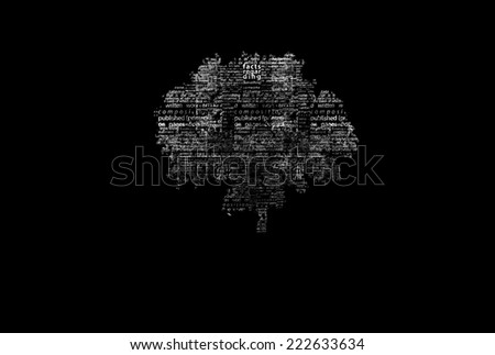 A tree made of white words on a black background with no title - word could  - stock photo