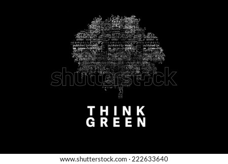 "A tree made of white words on a black background with ""Think Green"" as a title - word could  - stock photo"