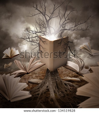 A tree with roots is reading a story with books floating around it on a brown old landscape. - stock photo