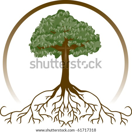A tree with wide-spread roots and a cross, symbolizing deeply-rooted faith. - stock photo