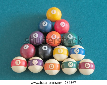 A triangle of billiard balls arranged by numbering.