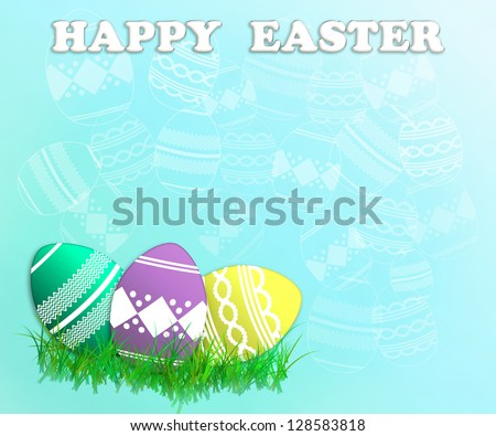 A trio of decorated Easter eggs lie in grass with hint of Easter eggs throughout.