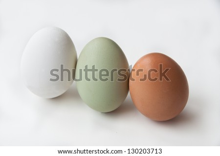 A trio of farm fresh eggs stands on a white background. In addition to the ordinary white egg is a green Araucana egg, and a brown Rhode Island Red egg.